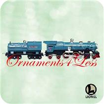 2003 Blue Comet Steam Locomotive and Tender - Set of 2 Lionel Miniature Ornaments - QXM4887 - SDB
