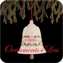 1991 Thimble Bells #2 - Miniature Porcelain Ornament - QXM5659 - SDB