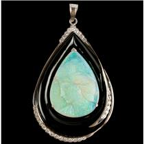 Ladies Stunning 18k White Gold Opal / Onyx / Diamond Cameo Pendant .48ctw