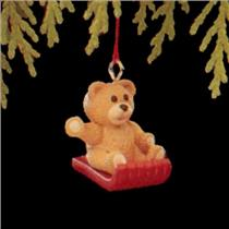 1990 Going Sledding - Miniature Ornament - #QXM5683 - SDB WITH NO TAG