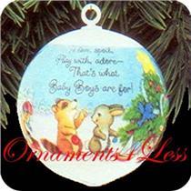 1992 Baby's First Christmas - Boys Satin Ball - #QX2191-SDB