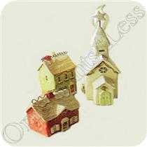 2006 Decorative Village - Houses and Church - Set of 3 - #XAO6144