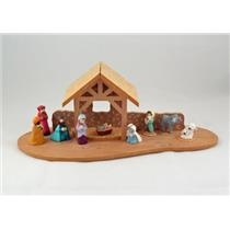 1988 Stable and 9 Merry Miniatures Nativity Set - #QFM1685-Set