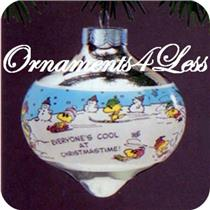 1987 Peanuts - Chrome Glass Ball - #QX2819 - SDB WITH NO TAG