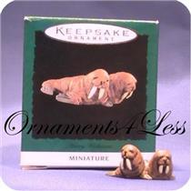 1995 Merry Walruses - Noah's Ark Miniature Ornament - #QXM4057 SIGNED BY ARTIST!