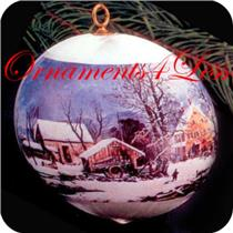 1975 Hallmark Keepsake - Currier and Ives - Glass Ball - #QX1641 - NEAR MINT BOX