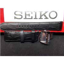 Seiko Watch Band SPB005 21mm Curved End Black Leather w/Push Button Deployment