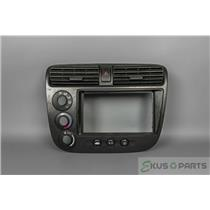 2001 Honda Civic Radio Climate Dash Trim Bezel with Vents, Rear Defrost Switch