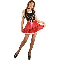 Adult Sexy Black and Red Bavarian Beer Garden Girl Costume Size Medium 8-10