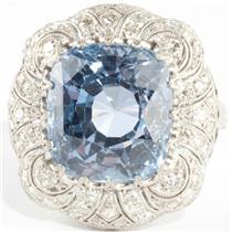 Vintage 1920's Platinum Cushion Cut Sapphire & Diamond Solitaire Ring 12.06ctw