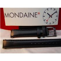 Mondaine Swiss Railways Watch Band FE23114 BLACK. 14mm Curved End Leather Strap