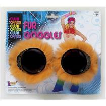 Orange Fur Goggles Aviator Goggles with Orange Faux Fur Trim