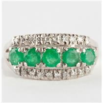 Vintage 1960's 18k White Gold Round Cut Emerald & Diamond Cocktail Ring 1.1ctw