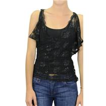 S NWT Twelfth Street By Cynthia Vincent Black Lace Jeweled Overlay Blouse w/Cami