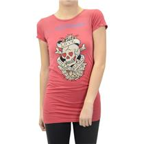 M Ed Hardy Red Love Kills Slowly Skull Rhinestone Graphic Tunic Tee Shirt/Top