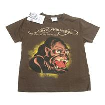 Size 3/4 NWT Ed Hardy Kids Boys Dark Brown Ape Gorilla Short Sleeve T Shirt