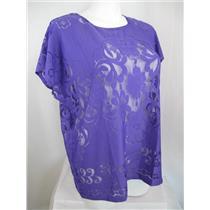 Susan Graver Size 1X Very Violet Jacquard Lace Dolman Sleeve Scoop Neckline Top