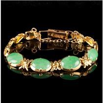 Unique 18k Yellow Gold Oval Cabochon Cut Four-Stone Jadeite Bracelet 6.0ctw