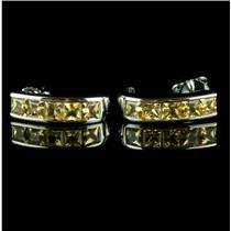 Fine 14k White Gold Princess Cut Yellow Sapphire Half Hoop Earrings 1.7ctw