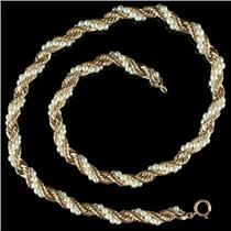 "14k Yellow Gold Round Cut Natural Pearl Spiral Rope Chain 15"" Length 36.0g"