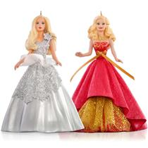 Hallmark Keepsake 2015 Celebration Holiday Barbie Ornament Set - #QXI2787