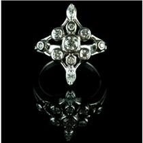 14k White Gold Round & Marquise Cut Diamond Cross Style Cocktail Ring .60ctw