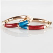 Fine 14k Yellow Gold Large Hoop Earrings W/ Blue & Red Enamel 7.0g