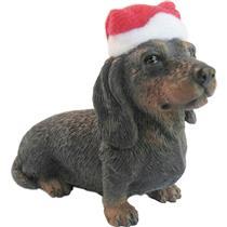 Sandicast Dog Ornament Black Dachshund with Santa Hat - #XSO-04410-DB