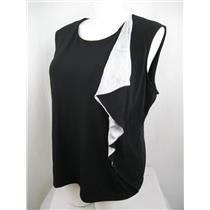 Calvin Klein Plus Size Sleeveless Black Top w/Light Gray Flounce down left side