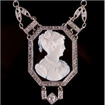 Stunning Vintage 1920's Platinum Diamond & Agate Cameo Pendant Necklace 1.15ctw
