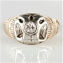 Vintage 1960s 14k Yellow & White Gold Diamond Masonic Solitaire Pinky Ring .20ct