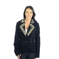 M/EU 38 Nicola Berti Black Cotton Blazer Ivory Embroidered Metal Eyelet Jacket