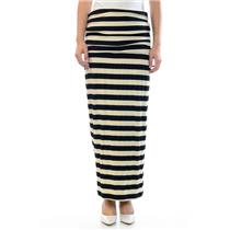 Sz M Laila Jayde Black & Beige Striped Long Maxi Skirt Side Ruching USA MADE