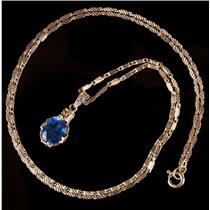 "Vintage 1960s 18k Yellow Gold Oval Cut ""AAA"" Sapphire & Diamond Necklace 2.78ctw"