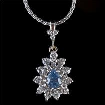 14k White Gold Pear Cut Sapphire & Round Cut Diamond Pendant W/ Chain 1.76ctw