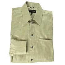 15 34/35 NWT Kenneth Cole NY Point Collar Sage Green Button Front Dress Shirt