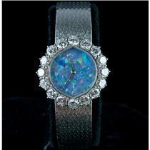 Vintage 1960's 18k White Gold Audemars Piguet Opal & Diamond Wrist Watch 2.56ctw