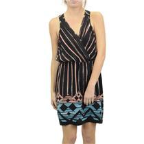 L NWT Charlie Jade Traci Dress Black/Pink/Blue Aztek Pleated Crossover Bust Silk