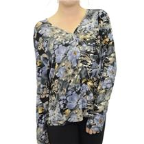 XL NWT Click Collection Rhinestone Floral Print Long Sleeve V-Neck Blue T-Shirt