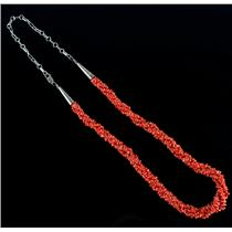 "Vintage 1970's Sterling Silver Red Coral Necklace 30"" Length W/ Adjustable Clasp"