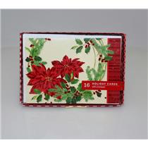 Hallmark Image Arts Poinsettia Wreath Christmas Holiday Cards - #BXC4313