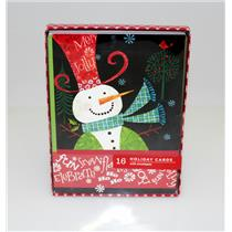 Hallmark Image Arts Snowman in Red Tophat Holiday Christmas Cards - #BXC4743