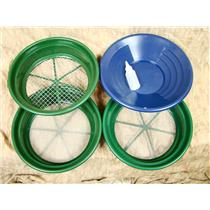 """3 Large Screens 1/2-1/8-1/20"""" Classifiers-Sifting +14"""" Blue Gold Pan & Snuffer"""
