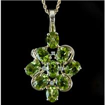 14k Yellow Gold Oval Cut Peridot & Diamond Floral Pendant W/ Chain 2.96ctw