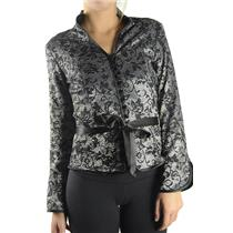 4 NWT Cartise Black Silver Silk Belted Madarin Collar Formal Blazer/Jacket 82172