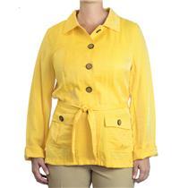 M Cheryl Nash Windridge Cherry Yellow Belted Trench Jacket Light Summery Fabric