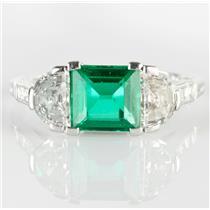 Stunning Tiffany & Co Vintage Platinum Emerald & Diamond Engagement Ring 2.78ctw