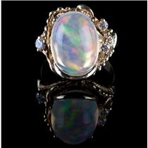 "Vintage 1960's 18k Yellow Gold ""AAA"" Jelly Opal & Diamond Cocktail Ring 8.05ctw"