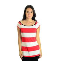 M Bailey 44 Red & White Bold Stripe Sleeveless Top w/Navy Trim at Neck 811-0083
