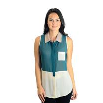 S Naked Zebra Sheer Tri-Color Colorblock Sleeveless Collared Button Front Blouse